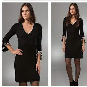 NWT Milly NY blk 100% cashmere ruffle cuff dress